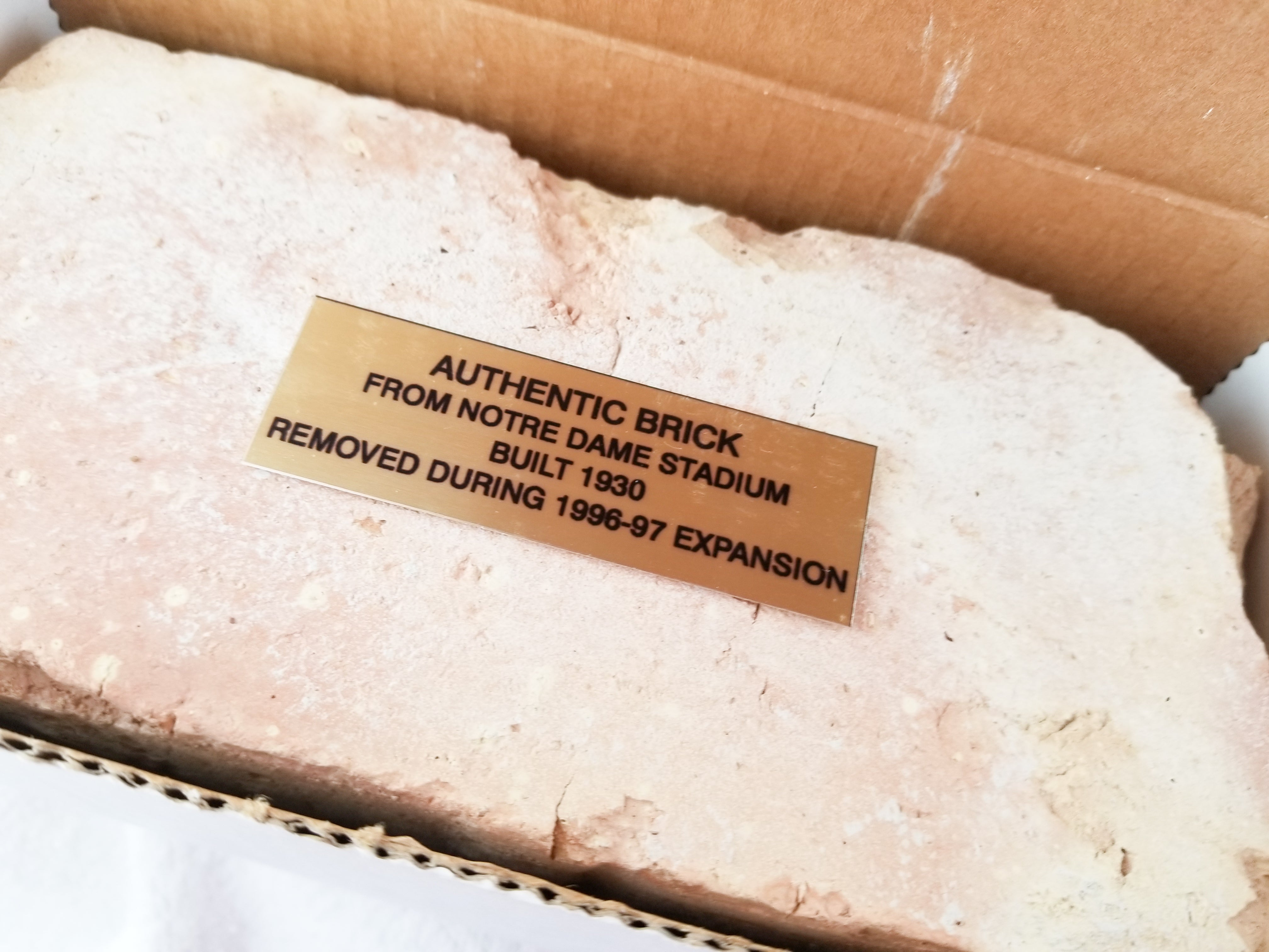Full Size Authenticated 1930s Notre Dame University Football Stadium Brick
