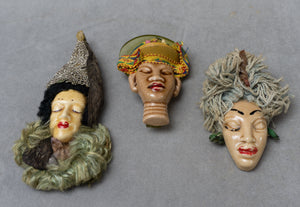 Vintage Hand Crafted Ceramic Harlem Puerto Rican Diva Brooches - Set of Three