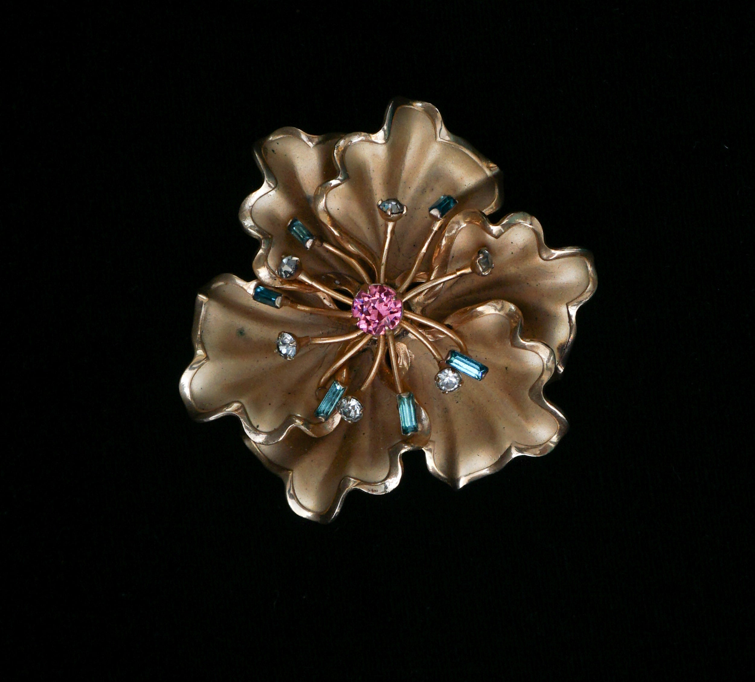 Hibiscus Brooch with Colorful Rhinestone Stamens Vintage Jewelry