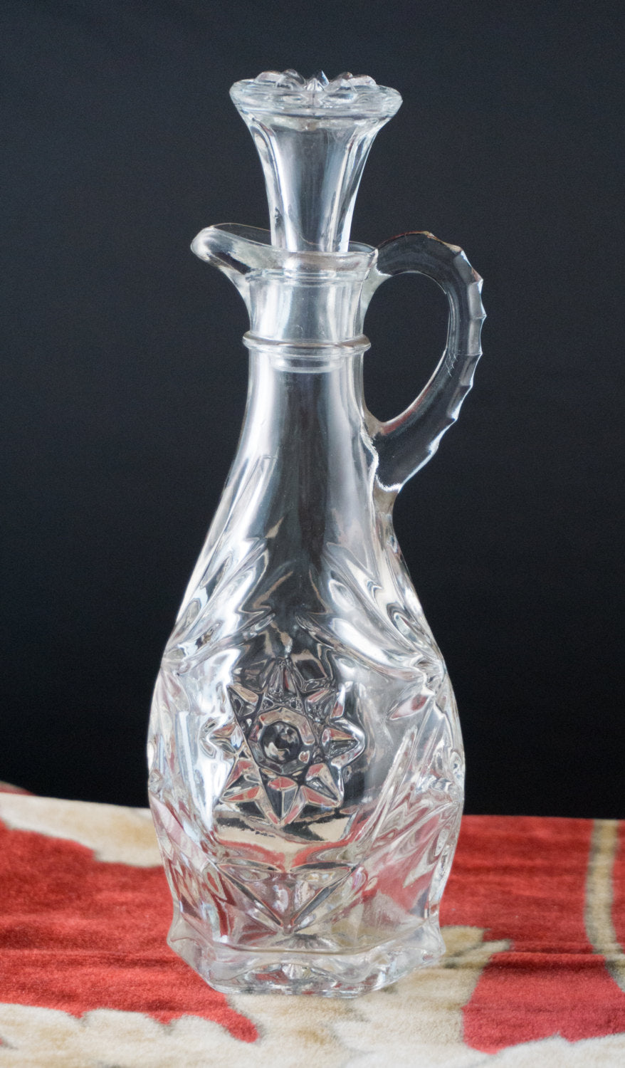 "Vintage EAPG Early American Pressed Glass ""Star of David"" Cruet Oil Syrup Pitcher"