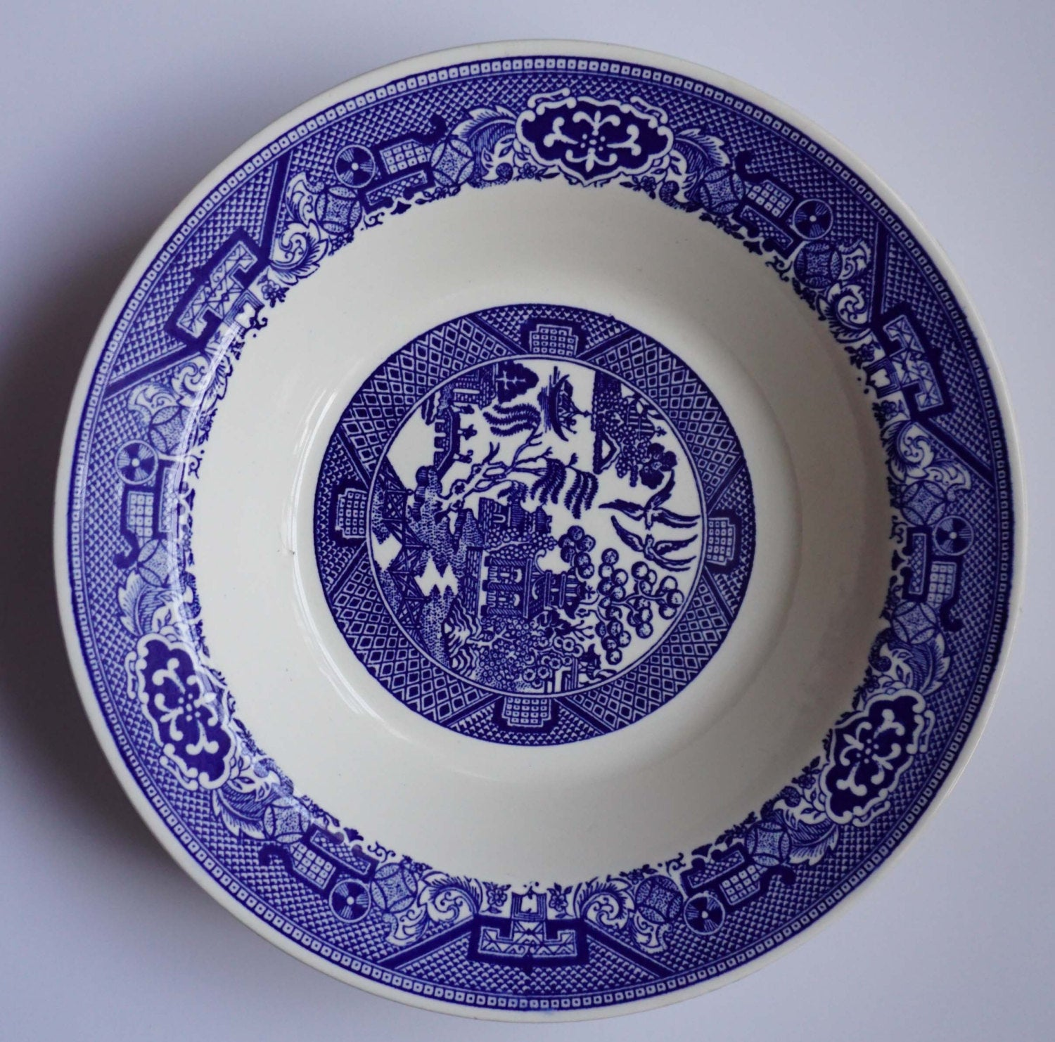 Vintage Blue Willow Transferware by Royal Serving Bowl