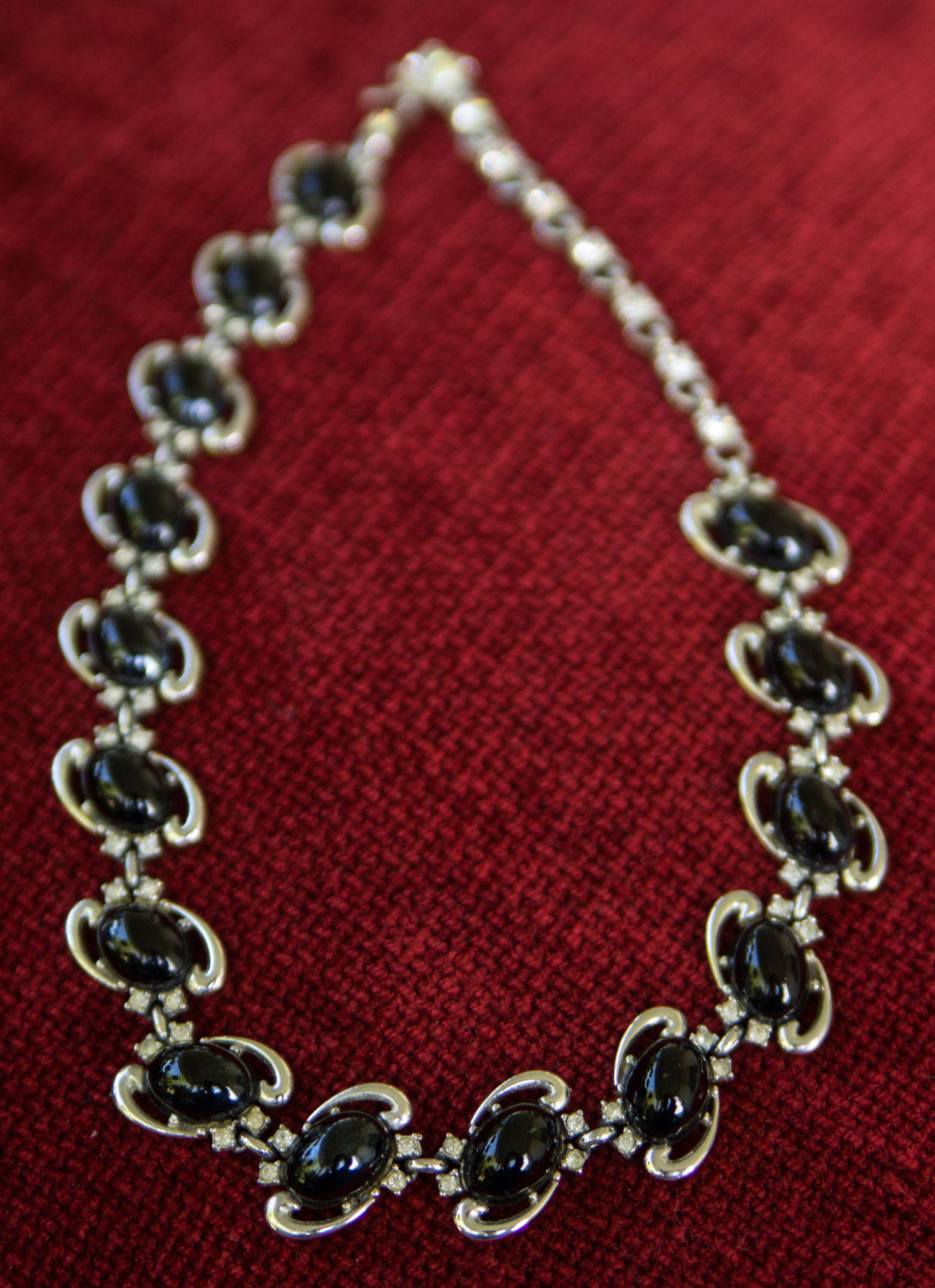 Vintage MCM Mid Century Black Glass Cabachon and Rhinestone Link Necklace