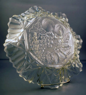 Large Vintage Federal Clear Glass Pioneer Pattern Fruit Serving Plate