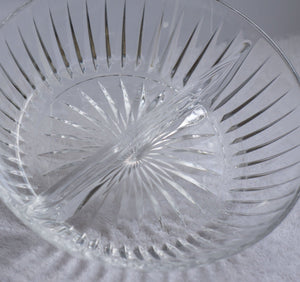 Large Mid Century MCM Vintage Clear Ribbed Glass Divided Dish