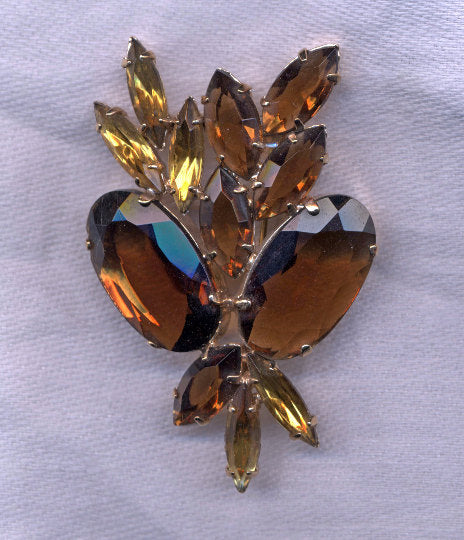 Vintage DeLizza and Elster Juliana Topaz Autumn Colored Rhinestone Brooch Pin / Vintage Jewelry