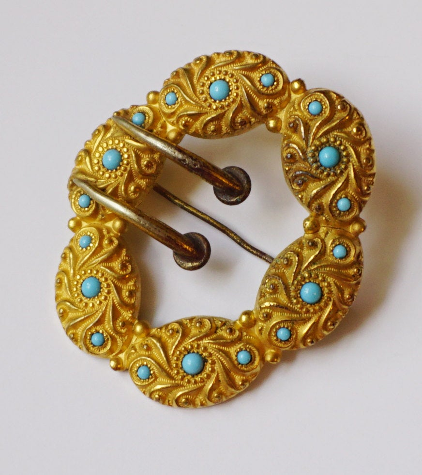 Victorian Gold Washed and Turquoise Floral Embossed Sash Pin Brooch