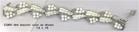 Vintage Signed Coro White Glass Grapes and Leaves and Rhodium Plated Bracelet
