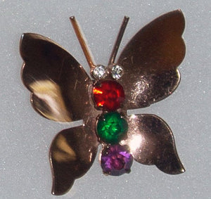 Vintage Coro CoroCraft Sterling Silver and Rhinestone Butterfly Brooch Pin