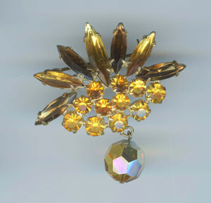 Vintage Fan Shaped Autumn Colored Rhinestone Brooch with Faceted Crystal Dangle Pendant