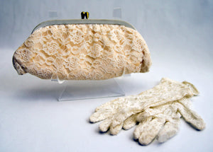 Vintage Ivory Lace Clutch Purse Bag and Matching Gloves