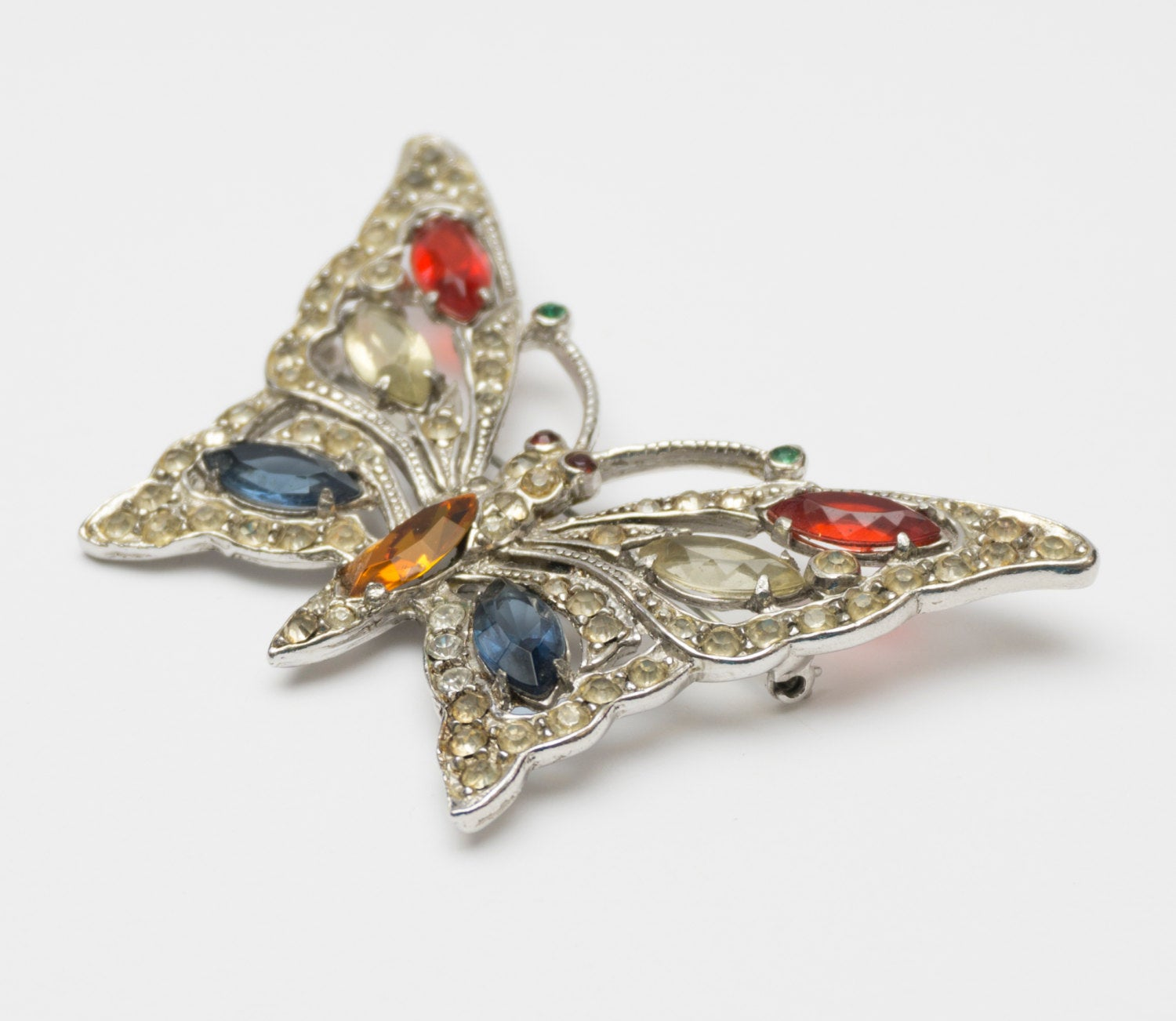Very Large Vintage Cast Butterfly Moth Rhinestone Figural Brooch Unsigned Staret