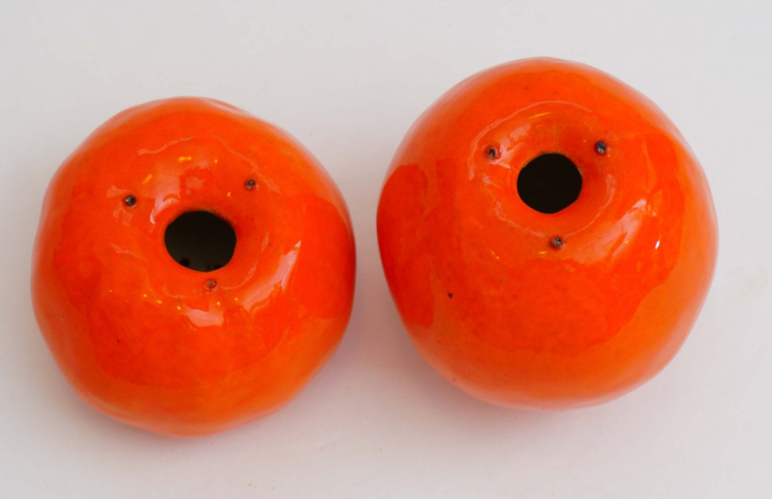Vintage Orange Tangerine Ceramic Salt and Pepper Shakers