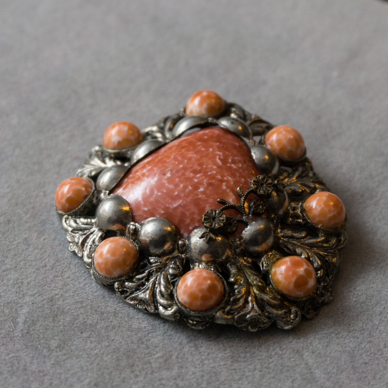 Vintage Coral Colored Ceramic and Cast Metal 1940s Dress Clip Medieval Brooch
