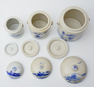 THREE Vintage Porcelain/Kaolin Blue & White Decorated Tea Caddies Canisters
