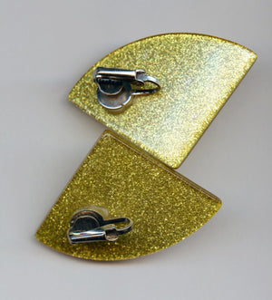 Vintage MCM Mid Century Modern Groovy Sparkly Glitter Lemon Yellow Lucite Clip Earrings