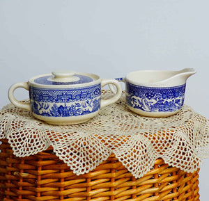 Vintage Unmarked Scio Blue Willow Transferware Cream and Covered Sugar Bowl