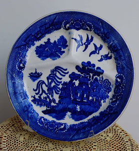 Vintage Blue Willow Transferware Grill Plate Made in Japan Crown