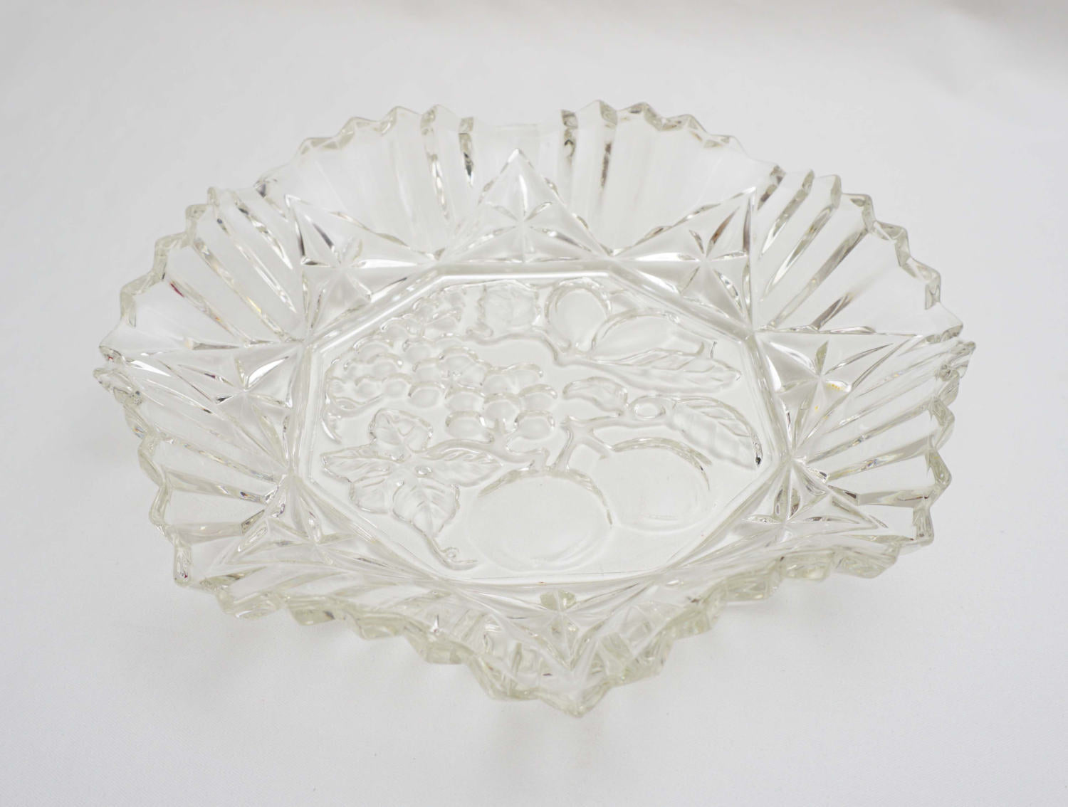 Vintage Pioneer Clear by Federal Glass Large 14 Inch Crimped Edge Round Serving Bowl