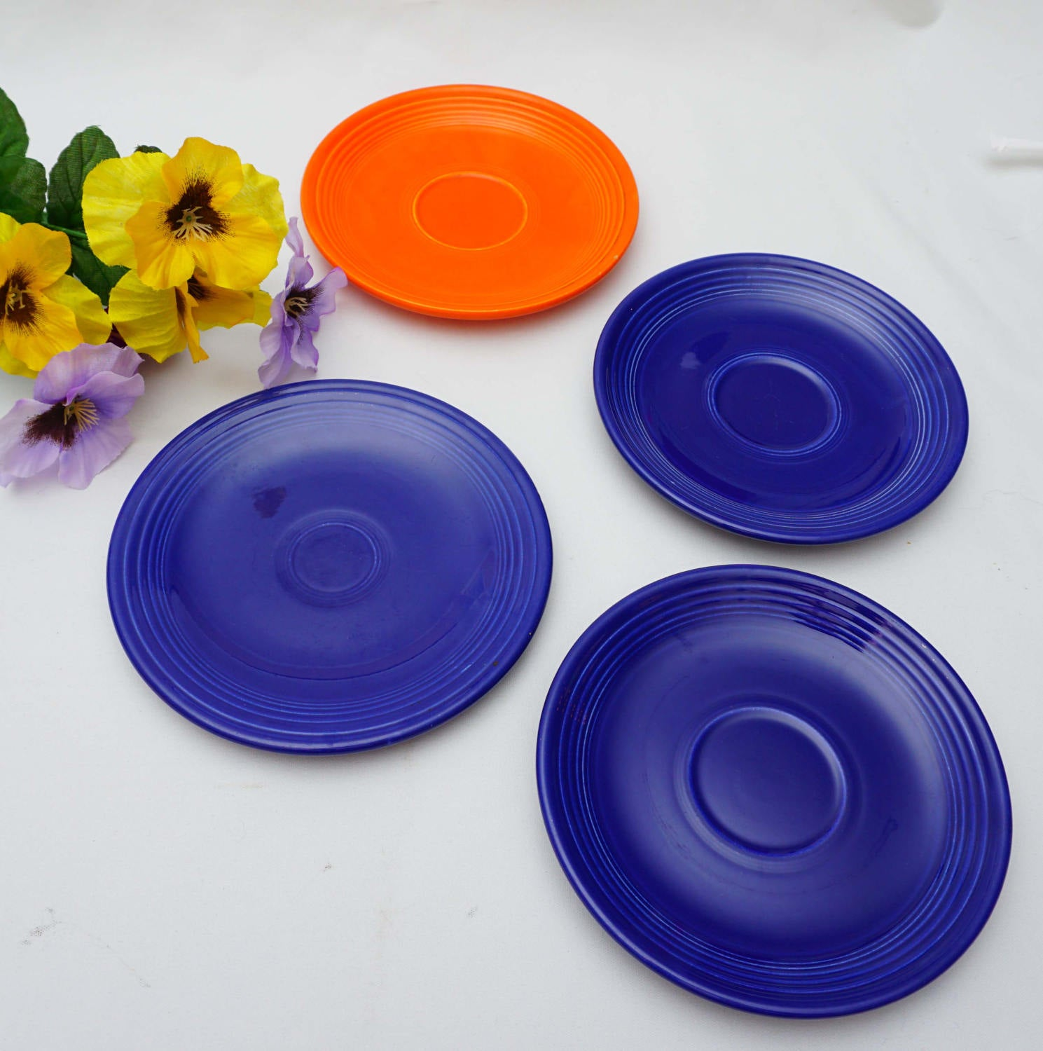 Vintage Lot of Four Unmarked Fiestaware Three Saucers Bread Plate Cobalt Blue Orange