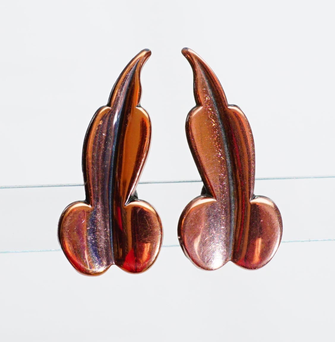 Vintage MCM Mid Century Modern Copper Leaf Clip Earrings Signed Renoir