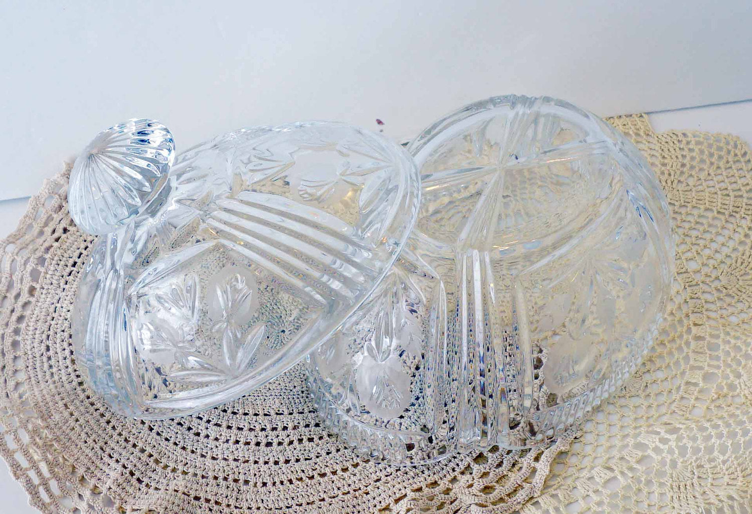Enormous Oval Vintage Cut Crystal Lidded Candy Dish