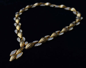 Regal Vintage Eisenberg E Rhinestone and Goldtone Link Rhinestone Necklace