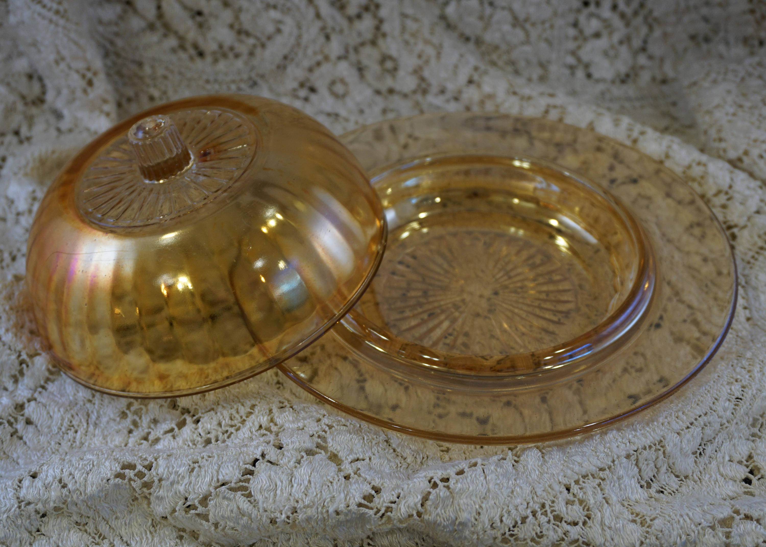 Vintage Covered Butter Dish Iridescent Peach Carnival Glass Fluted Round