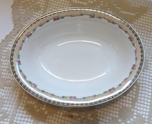Knowles Taylor and Knowles 21550 1 - 4 Pink Blue Flower Garland Oval Vegetable Dish
