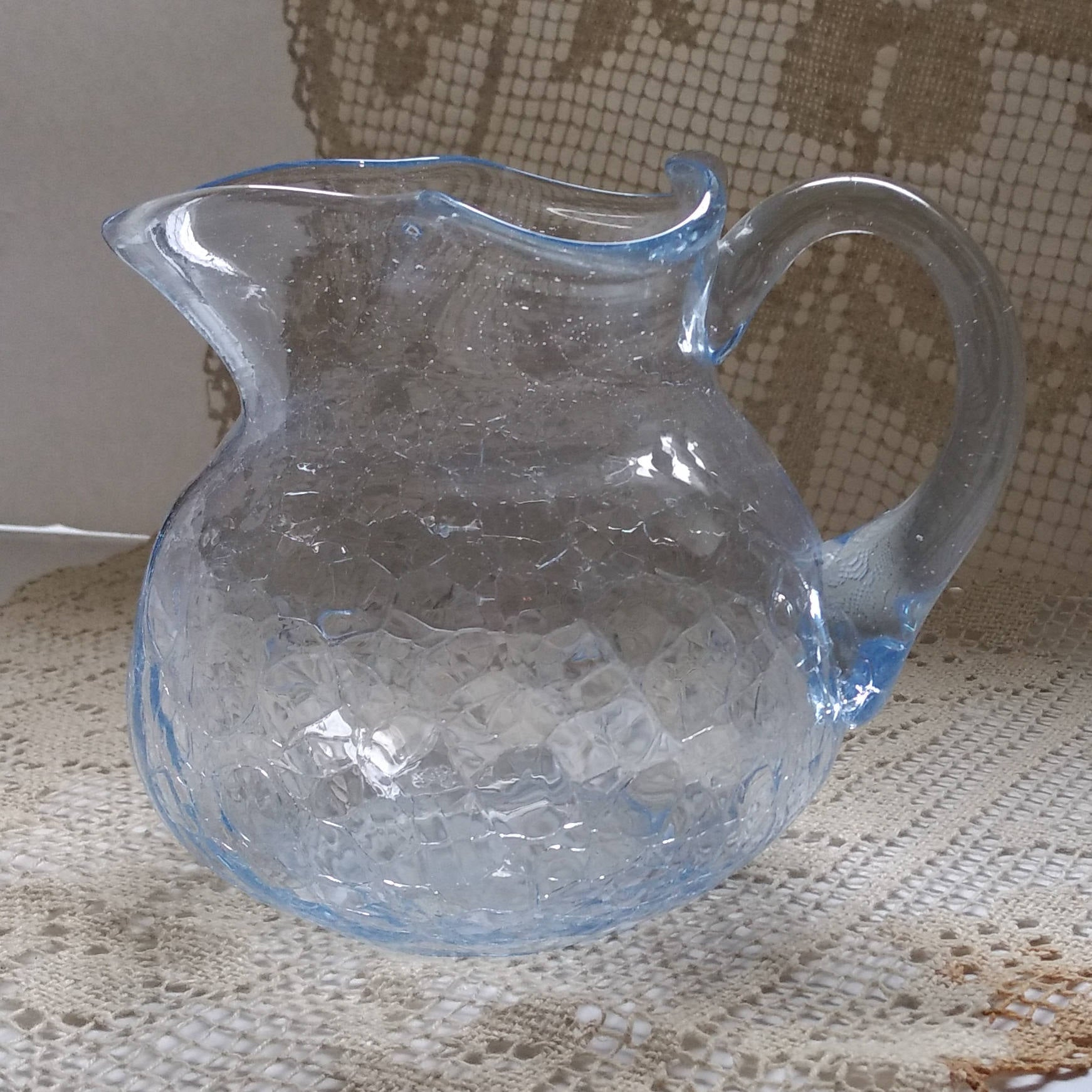 Vintage Baby Blue Crackle Craquelle Ice Glass Fluted Scalloped Pitcher