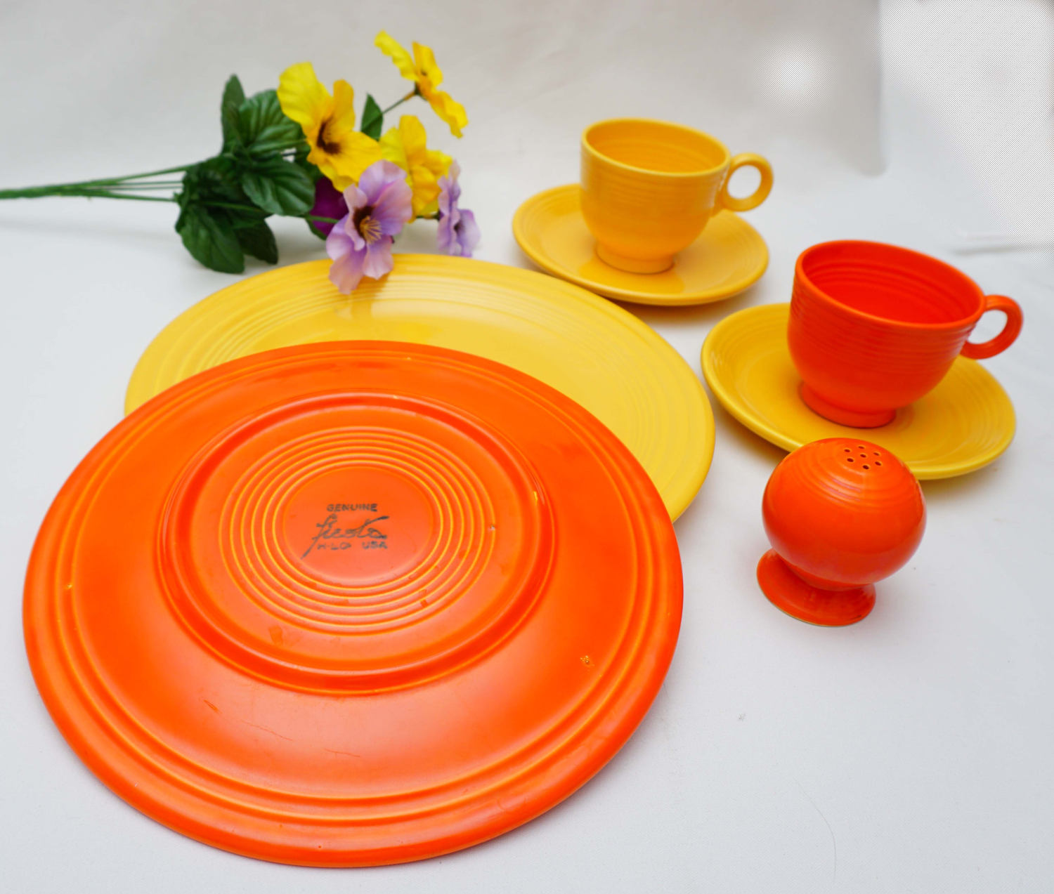 Vintage Lot of Orange and Yellow Signed Fiestaware Cup Saucer Bowl Plates Shakers