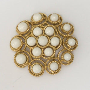 Vintage Mid Century Trifari White Glass and Goldtone Brooch Pin