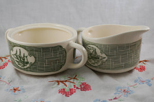 Vintage Currier and Ives Green Transferware by Scio RYL 112 Cream and Sugar