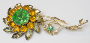 Enormous Signed Judy Lee Yellow Orange Green Rhinestone Flower Brooch