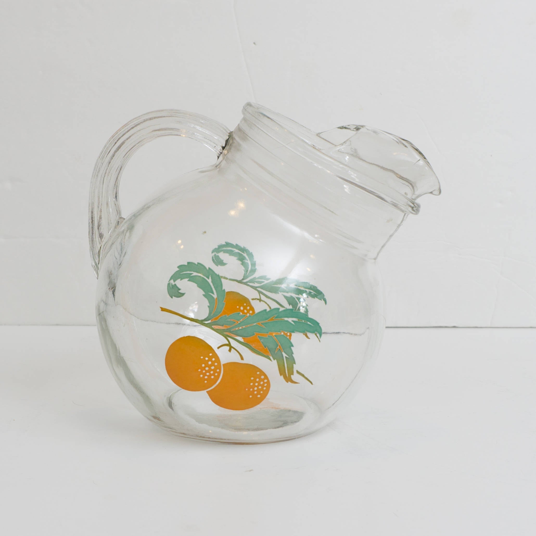 Vintage Mid Century Small Glass Tilt Pitcher w/ Oranges
