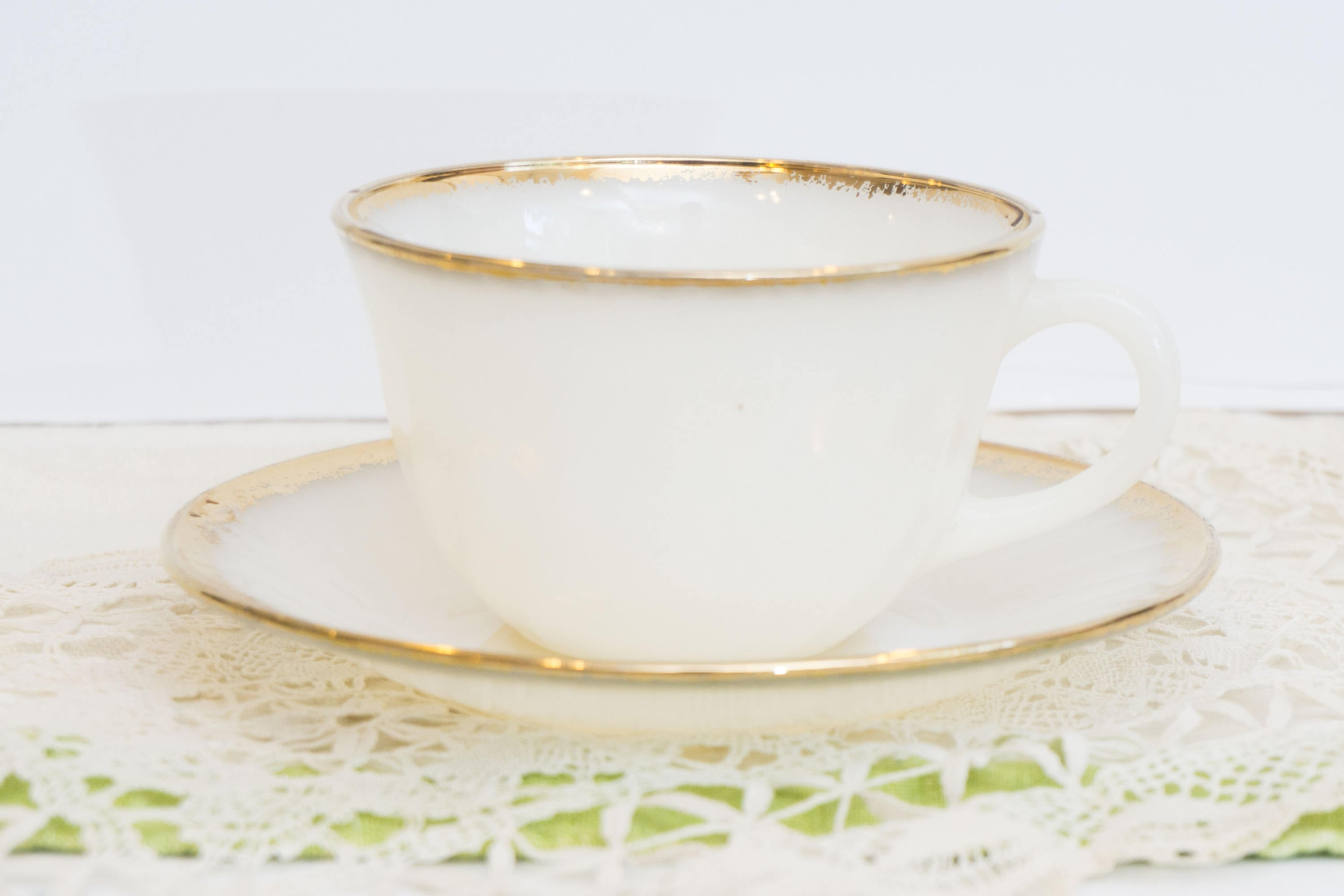 Vintage White Milk Glass Swirl Golden Anniversary Anchor Hocking Fire King Cup and Saucer