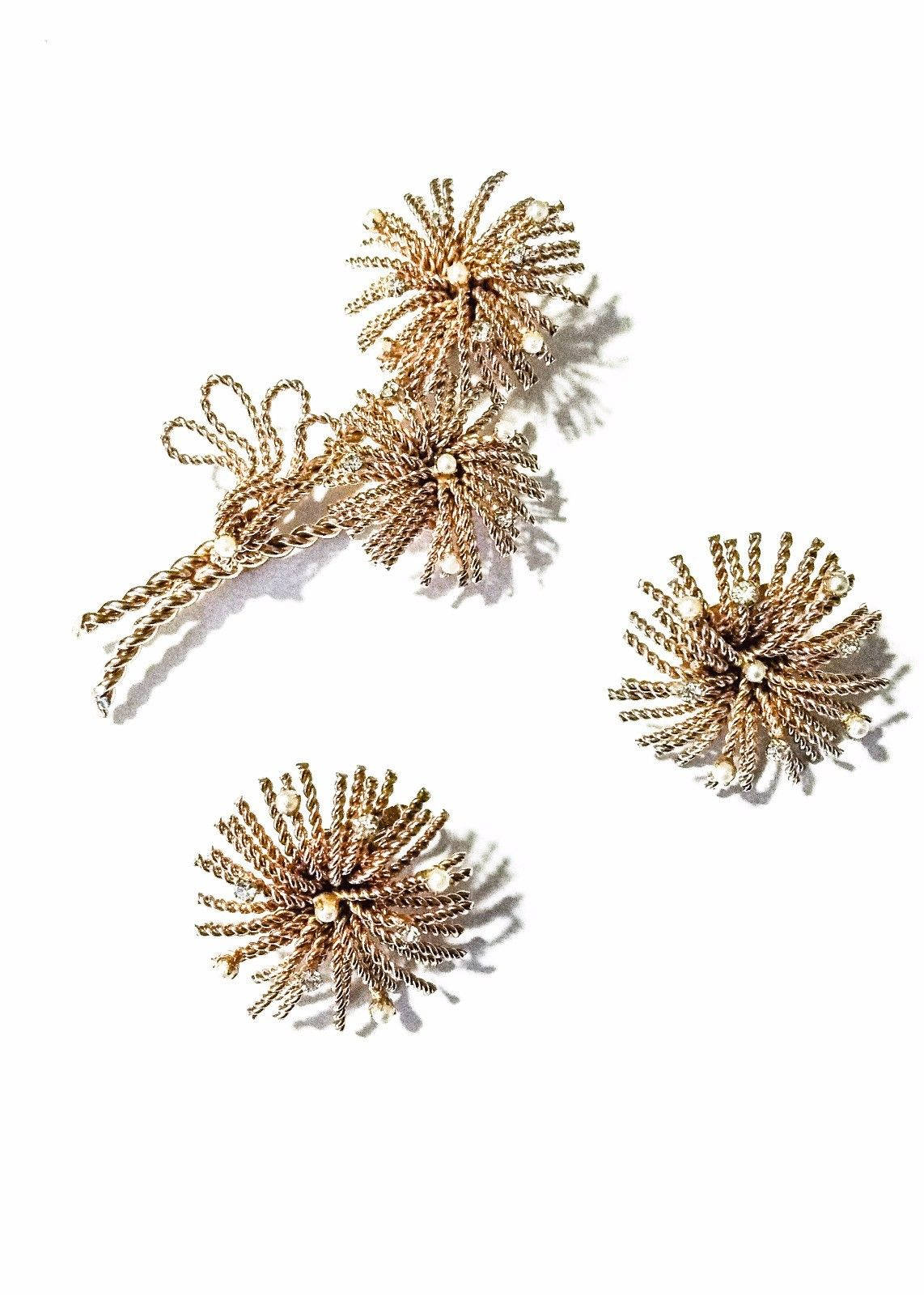 Vintage Signed Bergere Clip Earring and Brooch Set Rhinestone Seed Pearls