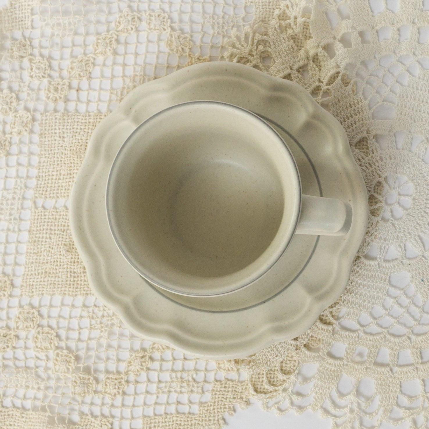 SEVEN Vintage Beige Gray White Stoneware Flat Cup & Saucer Set in Heirloom by Pfaltzgraff