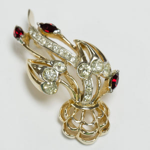 Gorgeous Gold Plated Signed Vintage Reja Red and Clear Rhinestone Brooch