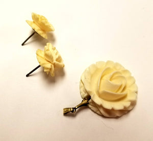 Vintage Carved Resin or Bone Rose Pendant and Pierced Earrings Set