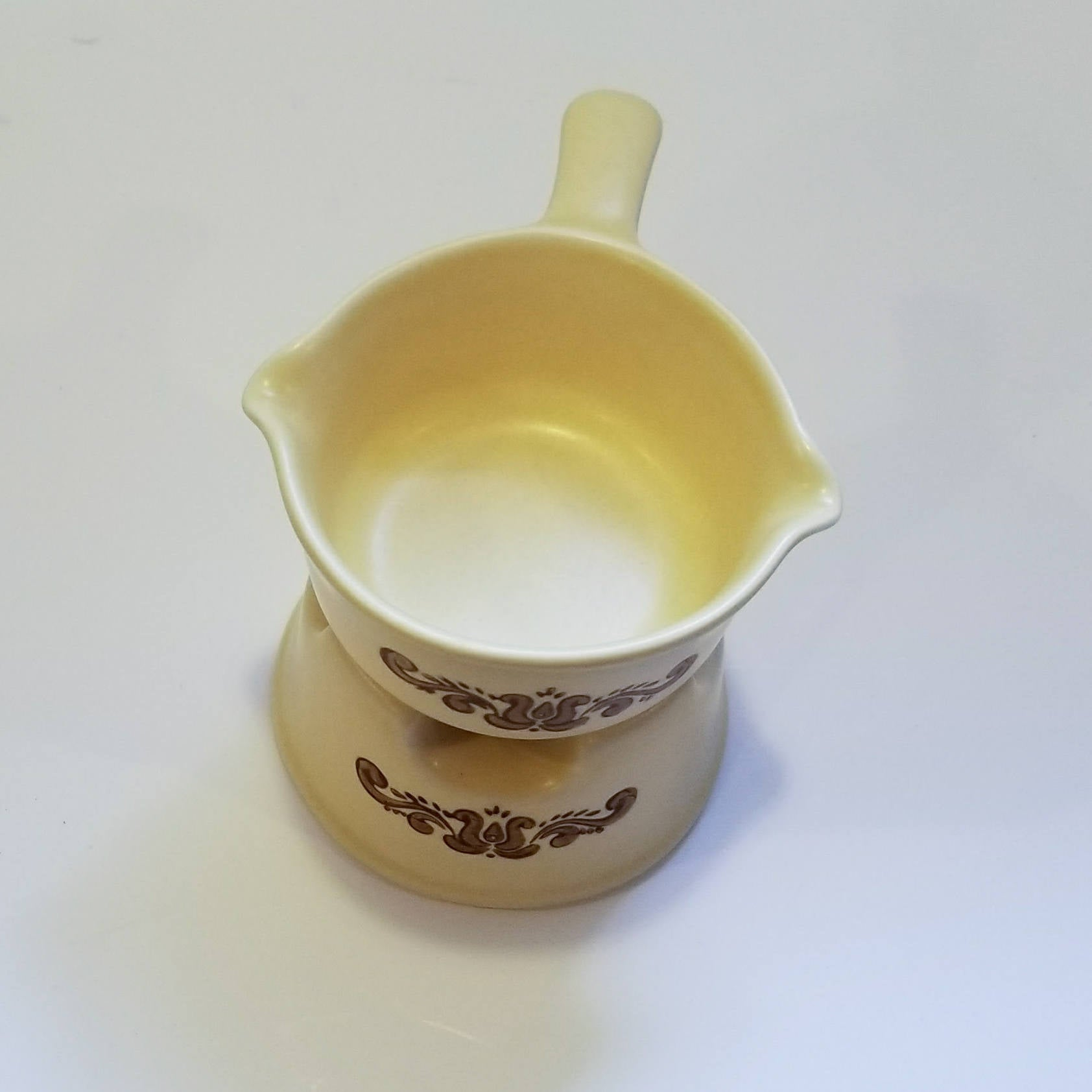 Discontinued Potpourri-Butter Sauce w/ Stand Gravy Boat in Village (Made in USA) by Pfaltzgraff