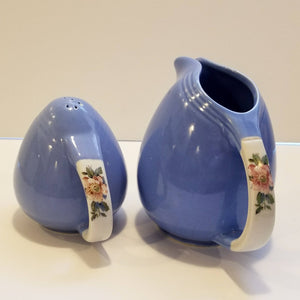 Vintage Art Deco Blue Purple Periwinkle Rose Parade Pepper Shaker and Milk Pitcher