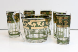 Vintage Mid Century MCM Ice Bucket and Five Highball Glasses in Golden Grapes Green by CERA GLASS