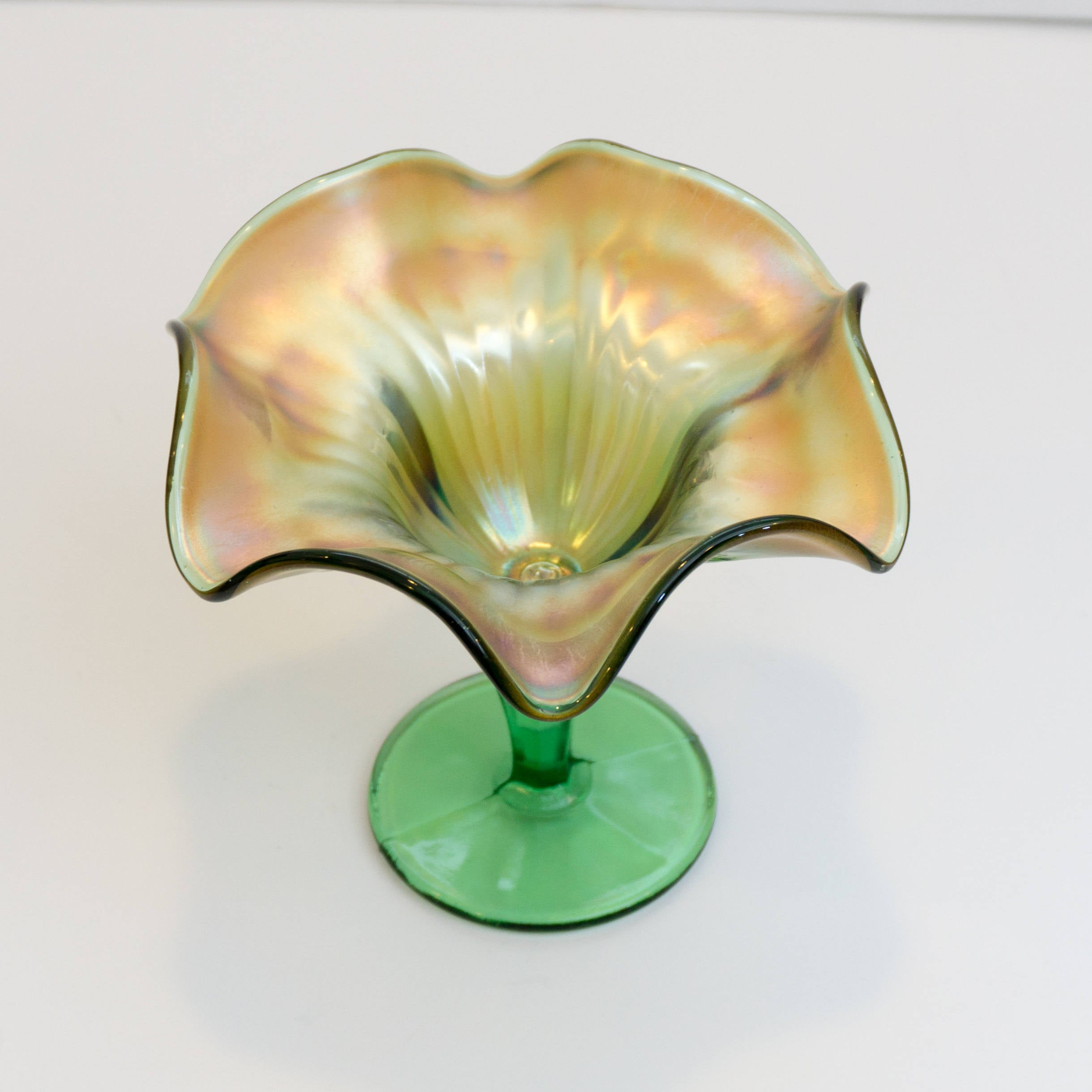 Vintage Footed Green and Gold Carnival Compote by Northwood Glass