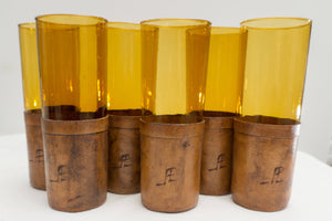 Set of Vintage Hand Blown Amber Cocktail Highball Glasses with Hand Made Leather Coozies Monogrammed JPL