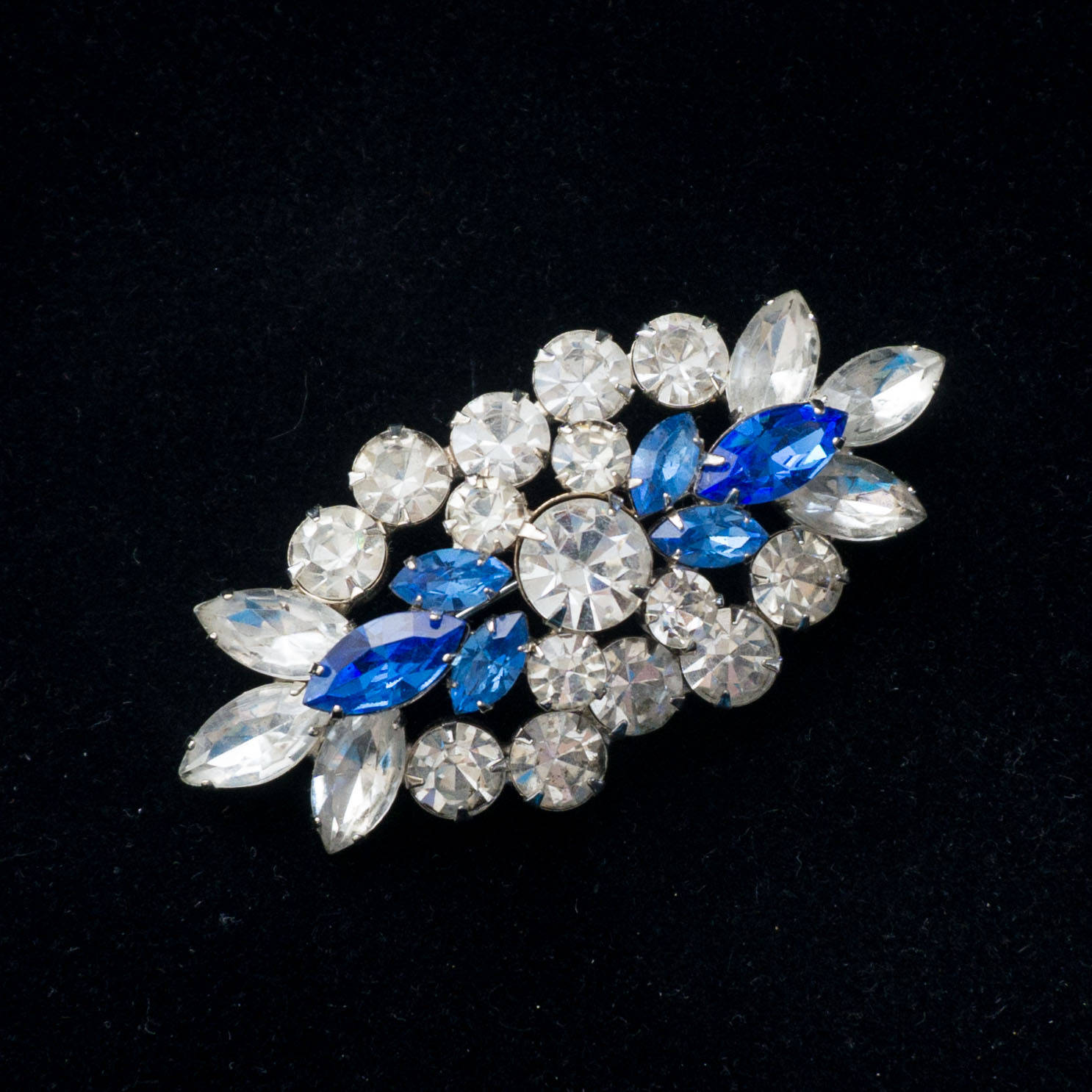 Large Flashy Blue and Clear Vintage Rhinestone Rhodium Plated Brooch