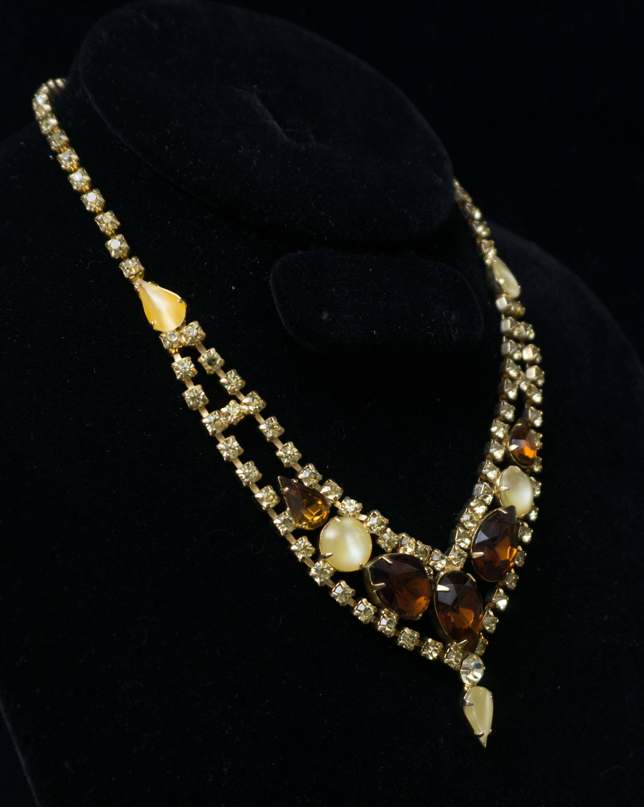 Vintage Amber and Pale Yellow Rhinestone Glamorous 1940s Bib Collar Necklace Choker