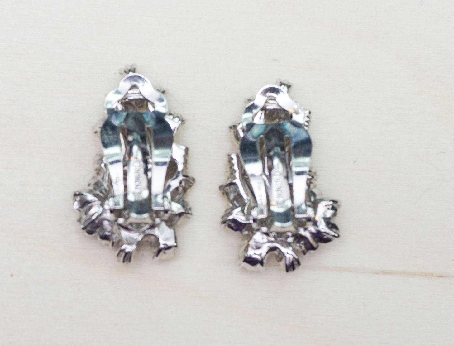 Vintage Formal Signed Pennino Pat Pend Clear and Rhinestone Clip Earrings