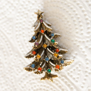 Vintage Signed ART Rhinestone and Enamel Christmas Holiday Tree Brooch Pin