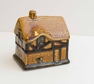 Hand Painted Vintage Thatched Tudor Cottage House Brown Piggy Bank Szeiler Studio