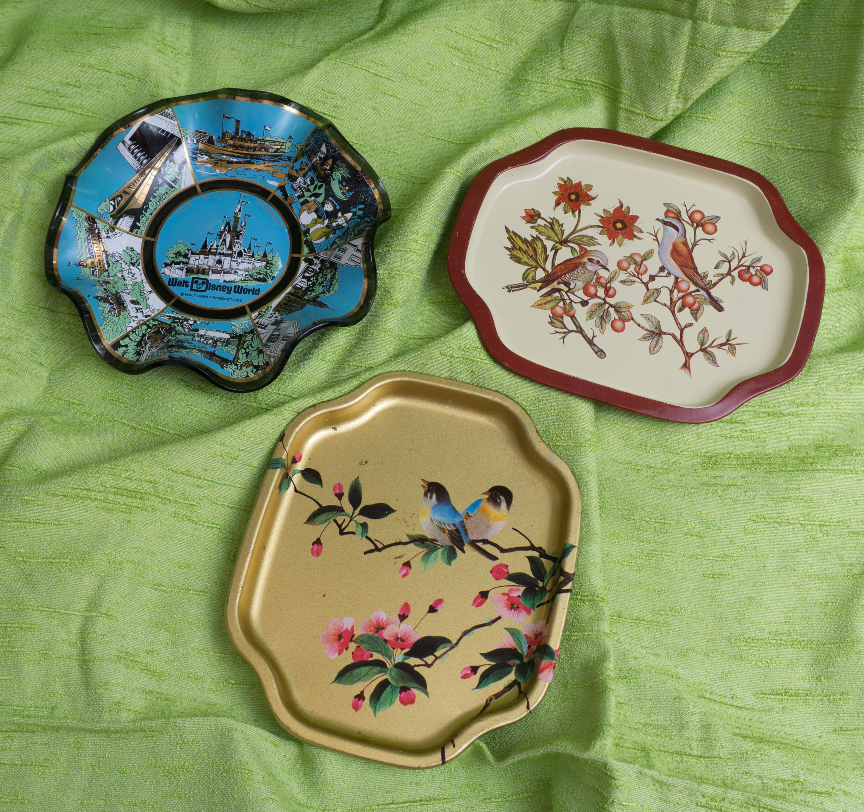 Lot of Three Collectibles - Two Elite English Tip Trays and 1970's Disney World Souvenir Candy Dish